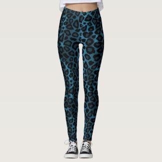 Legging Refrigere o impressão animal do leopardo azul
