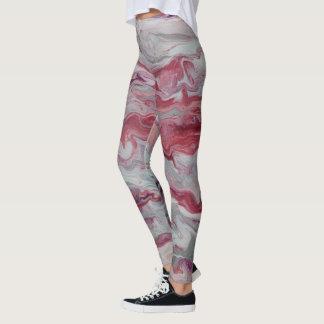 Legging Rosa & caneleiras abstratas da prata
