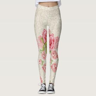 Legging Rosas cor-de-rosa
