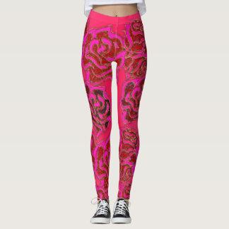 Legging Rosas cor-de-rosa brilhantes Leggigns floral