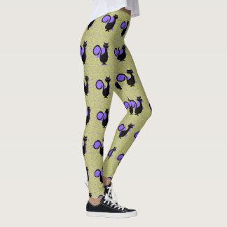 Legging _S-XL de Black_Cats_Lime-Purple* (c)
