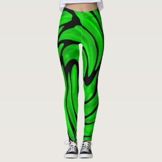 Legging Seda verde e caneleiras de couro pretas do olhar