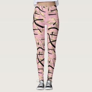 Legging Sepia geométrico em rosa pálido -