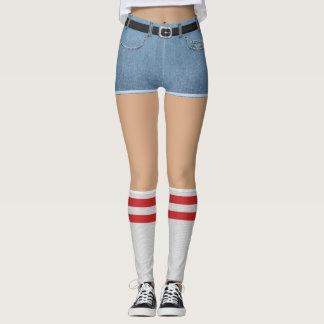 Legging Shorts falsificados e meias