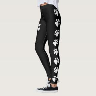 Legging Silhuetas do impressão da pata do cão em preto e