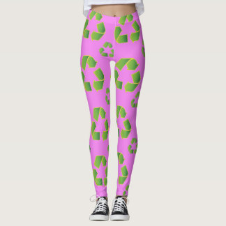 Legging Símbolo do reciclar isolado no fundo cor-de-rosa