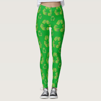 Legging Símbolo do reciclar isolado no fundo verde