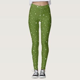 Legging Sparkles e teste padrão de pontos modernos verdes