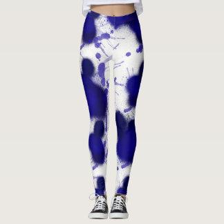Legging Splatter azul da pintura do abstrato do branco da