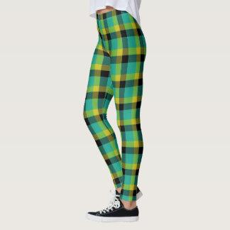 Legging Tartan amarelo e preto de turquesa escocesa da
