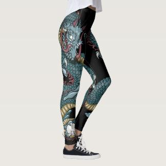 Legging Tatuagem gótico do dragão no preto