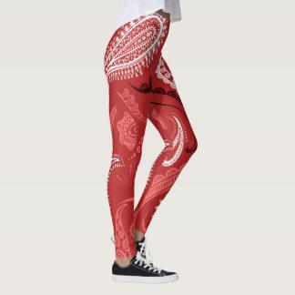 Legging Teste padrão abstrato do vermelho