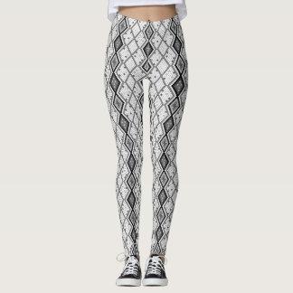 Legging Teste padrão abstrato preto & do branco de cobra