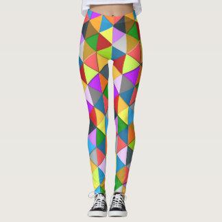 Legging Teste padrão abundante geométrico colorido do