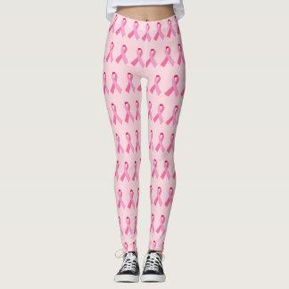 Legging Teste padrão alterno da fita cor-de-rosa na luz -