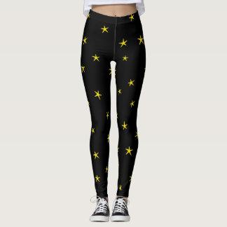 Legging Teste padrão amarelo da estrela do mar