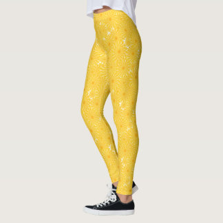 Legging Teste padrão amarelo ensolarado alegre do