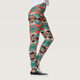 Legging Teste padrão asteca geométrico vermelho marrom