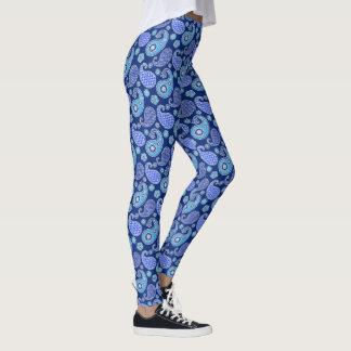Legging Teste padrão, azuis cobaltos e branco de Paisley