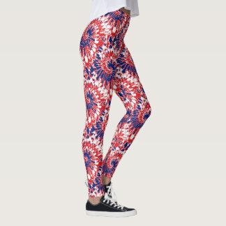 Legging Teste padrão azul branco vermelho corajoso da