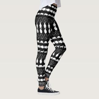 Legging Teste padrão bonito branco preto dos animais
