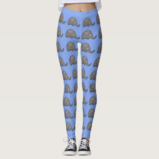 Legging Teste padrão bonito espiral tribal azul na moda