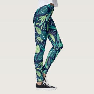 Legging Teste padrão botânico azul & verde das folhas