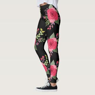 Legging Teste padrão botânico floral dos rosas | das