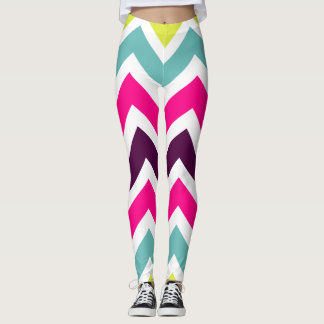 Legging Teste padrão brilhante e colorido de Chevron