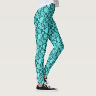 Legging Teste padrão, cerceta, Aqua e branco de Paisley
