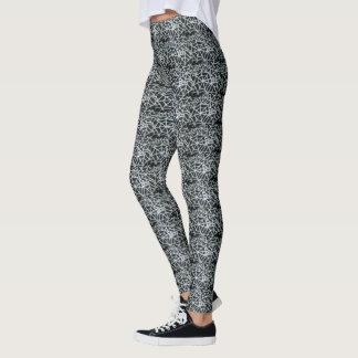 Legging Teste padrão clássico elegante preto e branco da