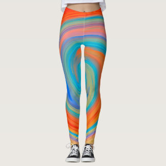 Legging Teste padrão colorido abstrato #6 do Fractal