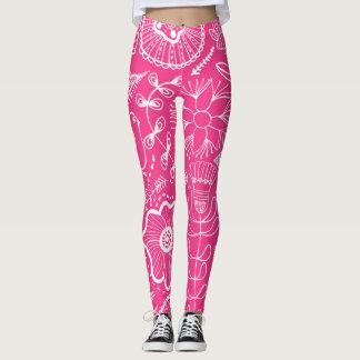 Legging Teste padrão cor-de-rosa da perdiz e de flor