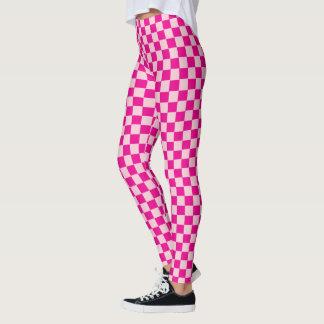 Legging Teste padrão cor-de-rosa dos quadrados