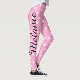 Legging Teste padrão cor-de-rosa e branco da ioga bonito
