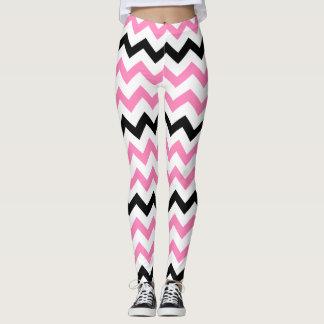 Legging Teste padrão cor-de-rosa e preto da ioga bonito de