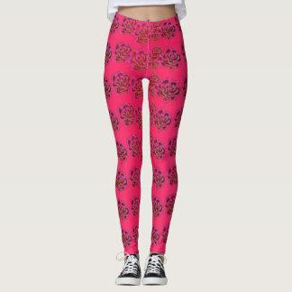 Legging Teste padrão cor-de-rosa Leggigns floral elegante