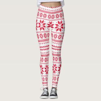 Legging Teste padrão da arte tradicional do Natal