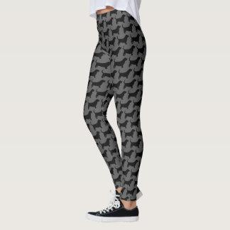 Legging Teste padrão das silhuetas de Basset Hound