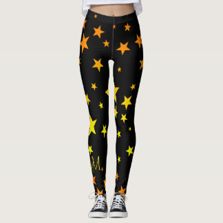 Legging Teste padrão de estrela alaranjado do divertimento