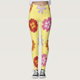 Legging Teste padrão de flor amarelo floral das margaridas