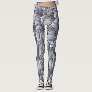 Legging Teste padrão de flor cinzento Lenggings