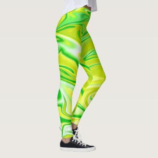 Legging Teste padrão de mármore branco amarelo verde,