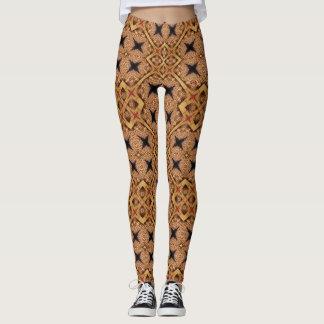 Legging Teste padrão de mosaico de Brown e de creme