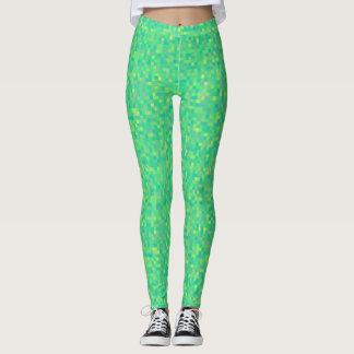 Legging Teste padrão de mosaico verde/amarelo na moda à