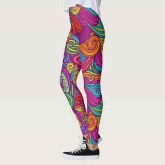 Legging Teste padrão de onda colorido retro de Swirly do