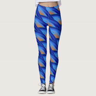 Legging Teste padrão de onda encaracolado azul abstrato #2