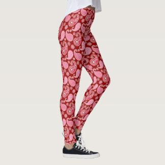 Legging Teste padrão de Paisley, obscuridade - vermelho,