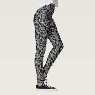 Legging Teste padrão de Paisley, preto e branco