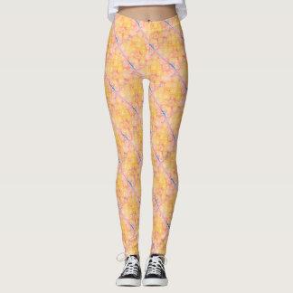 Legging Teste padrão diagonal cor-de-rosa, azul & amarelo